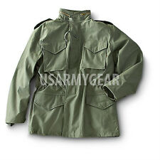 Vintage US Military OD Green Army M-65 Field Coat w Patches + New Liner