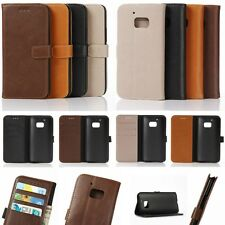 Wallet Leather Card Slot Holder Flip Folio Magnet Skin Case Cover For HTC Phone
