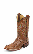 Justin Mens Cognac Full Quill Ostrich Western Boots 11in Waxy