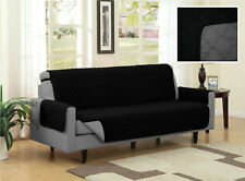 Black Gray Quilted Reversible Microfiber Pet Dog Cat Couch Furniture Protector