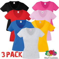 3 Pack Fruit Of The Loom T-SHIRT V-NECK LADY FIT COTTON  LYCRA TOP XS-2XL LADIES