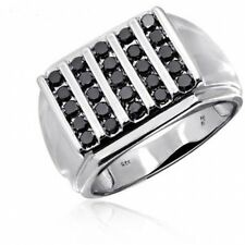 JewelersClub 1.00 CTW Black Diamond Men's Ring In Sterling Silver. Brand New