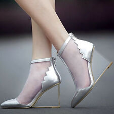 100% Genuine Leather Wedge mesh shoes Pointed toe Formal Transparent Sandals new