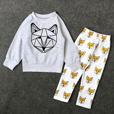 Boy Baby 2PCS Top T-shirt+Long Pants Outfits Set Fox Print Toddler Kid Cotton