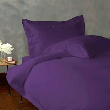 PURPLE SOLID 1000TC 100%EGYPTIAN COTTON UK KING SIZE COMPLETE DUVET COVER SET