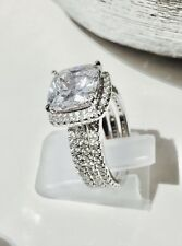 Sterling Silver Simulated Diamond Ring Engagement Genuine Stamp 925 3 Ring Set
