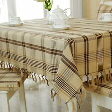 Fashion Tablecloth Cotton Linen Plaid Fringe Wedding Dinning Coffee Table Cover