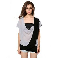 Women Casual V-Neck Short Sleeve Chiffon Patchwork Loose Blouse Tops NC89