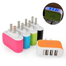 Wall Home Phone Charger AC LED Power Charger Adapter 3-Port USB Light