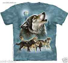 Howl Wolf T-Shirt/Wolves Playing,Dusk Full Moon,Dusty Blue Tie Dye T-Shirt