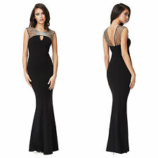 ~CAMILLA~ Black Diamond Embellished Mesh Cocktail Evening Maxi Dress 8 10 12 14