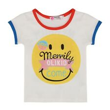 Girls Boys Cute Summer Casual Short Sleeve T-shirt Smile Face Tops Blouse 1-6Y