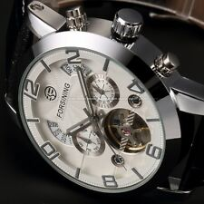 Automatic Stainless Steel Case White Dial Date Day Display Mens Mechanical Watch