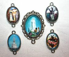 Choice of Custom Fatima Silver Rosary Making Set~Center & 4 Pater Picture Medals