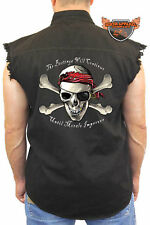 Men's Sleeveless Denim Shirt Pirate Skull And Crossbones Biker Vest