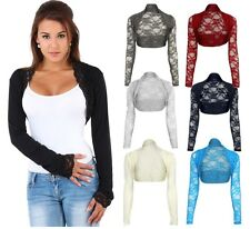 Ladies Cropped Lace Bolero Shrug top Women sheer Party Fashion Top Size UK 8-14