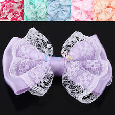 50Pcs Colorful Lace Fabric Bow Appliques/Sewing/Craft/Wedding Decoration Durable