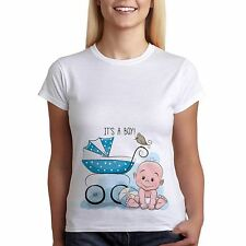 Womens Tee Funny Pregnancy Maternity T-shirt Its A Boy Baby Perfect Gift Top
