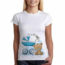Womens Funny Pregnancy Maternity T-shirt Its A Boy Teddy Bear Tee Perfect Gift