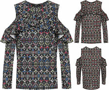 Plus Womens Aztec Print Top Ladies Cut Out Cold Shoulder Long Sleeve Stretch