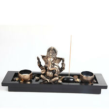 Ganesha Elephant Head Ornament Statue Candle Holders Gift Set HY1418