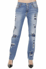 ERMANNO SCERVINO New woman Blue strass Destroyed Denim Jeans Pants MADE IN ITALY