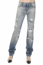 DOLCE&GABBANA New Woman Blue Vintage Effect Denim Jeans Made in ITALY
