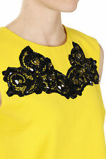 DIANE VON FURSTENBERG New woman Yellow sleeveless Paillettes BETTY Nwt Original