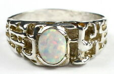 Created White Opal, 925 Sterling Silver Men's Ring, SR197-Handmade