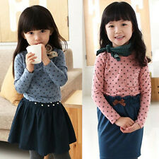 Baby Kid Girl Polka Dot Long Sleeve T-shirt Blouse Leisure Cotton Shirt Tops