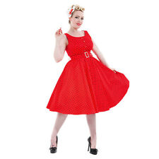 Hearts and Roses Red and Black Polka Dot Dress - Ladies H&R Vintage Clothing UK