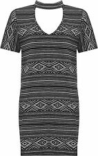 Plus Womens Choker Neck Top Ladies Aztec Print Short Sleeve Stretch New 14-28