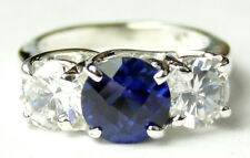 Created Blue Sapphire, 925 Sterling Silver  Ring, SR255-Handmade
