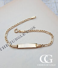 """9ct Yellow Gold Children's 6"""" Figaro ID Bracelet CHRISTENING ENGRAVE PERSONALISE"""