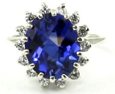 Created Blue Sapphire, 925 Sterling Silver Ring, SR283-Handmade