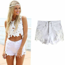 UK Womens Lace Flower Ripped Frayed High Waist Beach Denim Jeans Shorts Hotpants