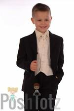 Boys Suits. Formal, Wedding, Pageboy. 5 Piece Cream & Black Suit 0-3mths-15yrs