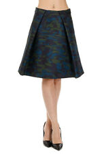 KENZO New woman Blue Green Pleated Trapeze SKirt NWT