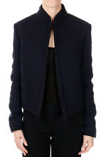 LANVIN New Woman Dark Blue Wool Blend Lined Short Coat Blazer Made in Italy NWT