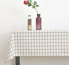 Square Tablecloth Geometric Checkered Print Cotton Linen Table Cover Tableware