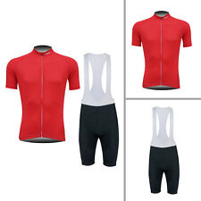 New Mens Outdoor Bike Team Cycling Jersey Bib Shorts 3D Padded Lycra Outfits Red