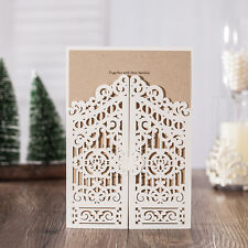 Personalized Laser Cut Floral Gate Fold Wedding Invitation Card Envelope & Seal
