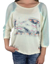 ROXY. Womens Aztec Netted 3/4 Sleeve T-Shirt. Cream / Blue. Size Small.