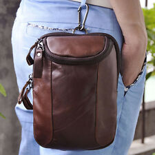 Men Genuine Leather Hook Shoulder Messenger Bum Belt Fanny Pack Pouch Waist Bag