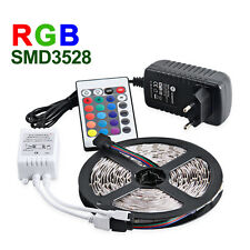 5M 3528 SMD RGB NON-Waterproof Strip 300 LED + 24/44 Key IR Remote 12V 2A Power