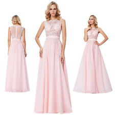 Pink Formal Long Lace Dress Prom Evening Party Cocktail Bridesmaid Wedding Gown