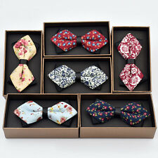 Mens Cotton Floral Flower Bowtie Wedding Party Adjustable Classic Bow Ties