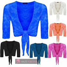 WOMENS NEW LACE ¾ SLEEVE TIE KNOT CROPPED BOLERO CARDIGAN SHRUG UK 16-26