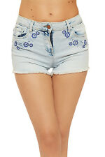 Womens Floral Embroidered Denim Hot Pants Ladies Pocket Zip Button Frayed Shorts
