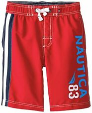 NAUTICA Rouge Red White Blue Board Shorts Swim Trunks Boys 5-6, 7, 7X NWT 32.00